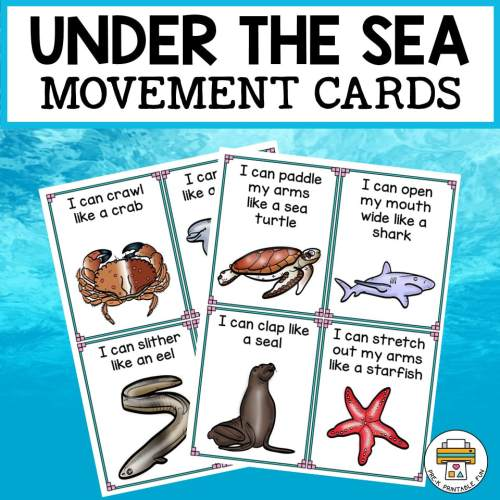 small resolution of Under the Sea Movement Cards - Pre-K Printable Fun