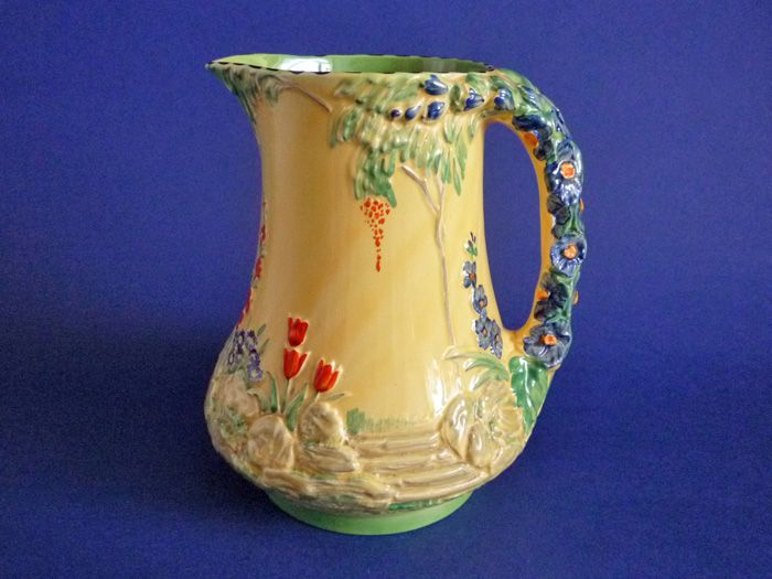 Burleigh Ware Art Deco Garden Jug with Flower Handle c1935