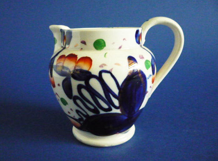 Early Victorian Gaudy Welsh Oyster Pattern Pottery Jug c1840