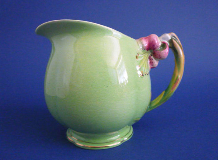 Large Vintage Grimwades Royal Winton Green Tiger Lily Jug