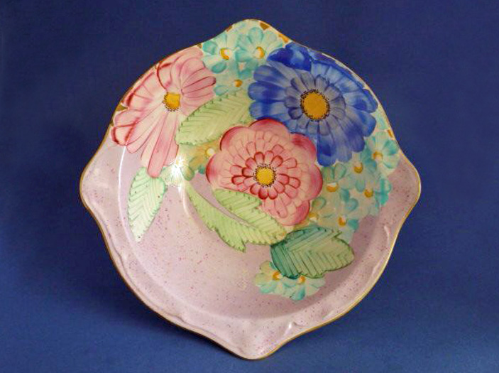 Lovely Gray s Pottery Art Deco Pink Floral Dish c1934