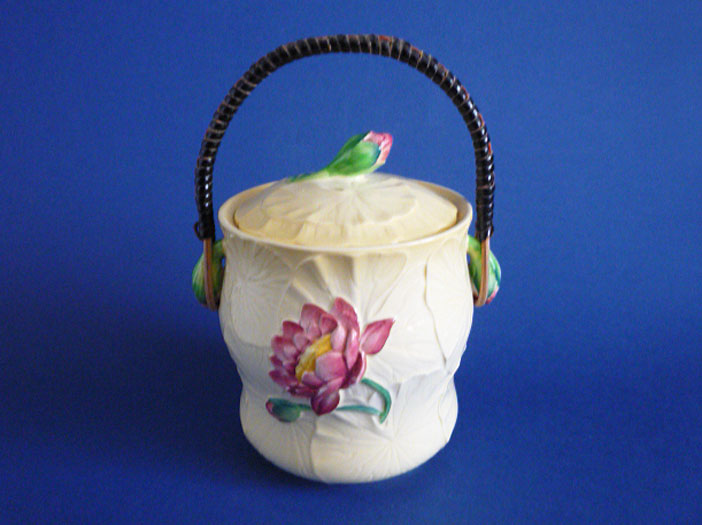 Rare Carlton Ware Yellow Water Lily Biscuit Barrel c1939 Sold