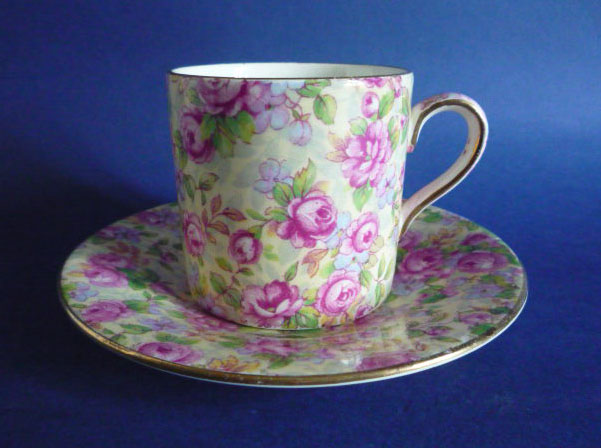 Rare Vintage Grimwades Royal Winton English Rose Chintz Coffee Can and Saucer c1951