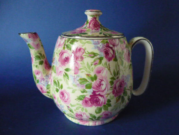 Rare Vintage Royal Winton Grimwades June Roses Chintz Countess Teapot c1935 Sold