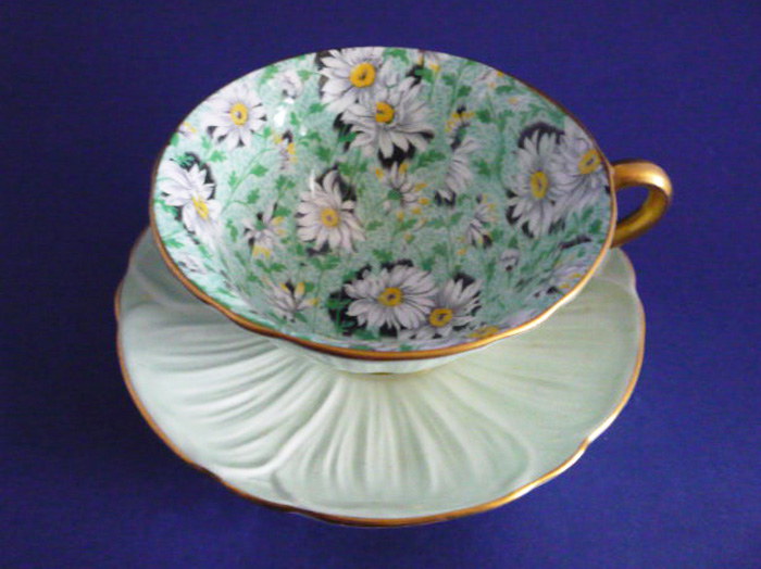 Vintage Shelley Green Daisy Chintz Oleander Cup and Saucer