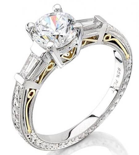 Coast Diamond Hand Engraved Engagement Ring LP2287 Available at BARONS Jewelers in Dublin, California