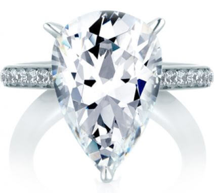 A. Jaffe Pear Cut Engagement Ring Available at Corinne Jewelers