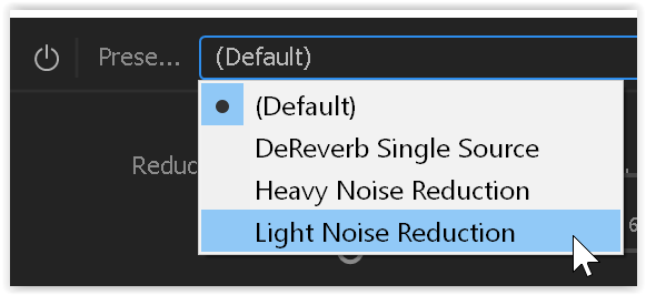 adaptive noise reduction presets
