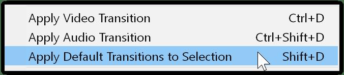 applica transizioni predefinite alla selezione