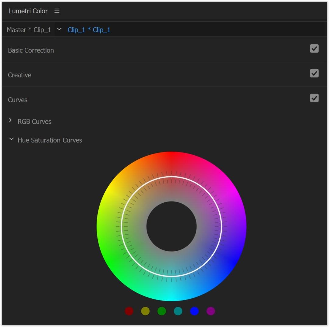 curva saturazione tinta