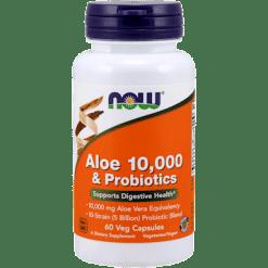 NOW Aloe 10000 amp Probiotics 60 vegcaps N30290