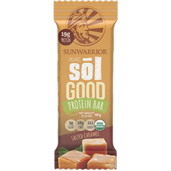 Sunwarrior Sol Good Protein Bar Salted Car 12 Bars S81256