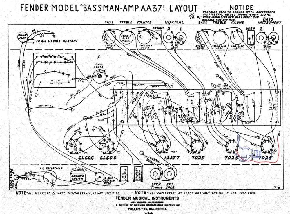 medium resolution of this illustration shows the gain stage mod breaking out the area around tube positions v1 and v2 from a schematic drawing of an aa371 bassman amp