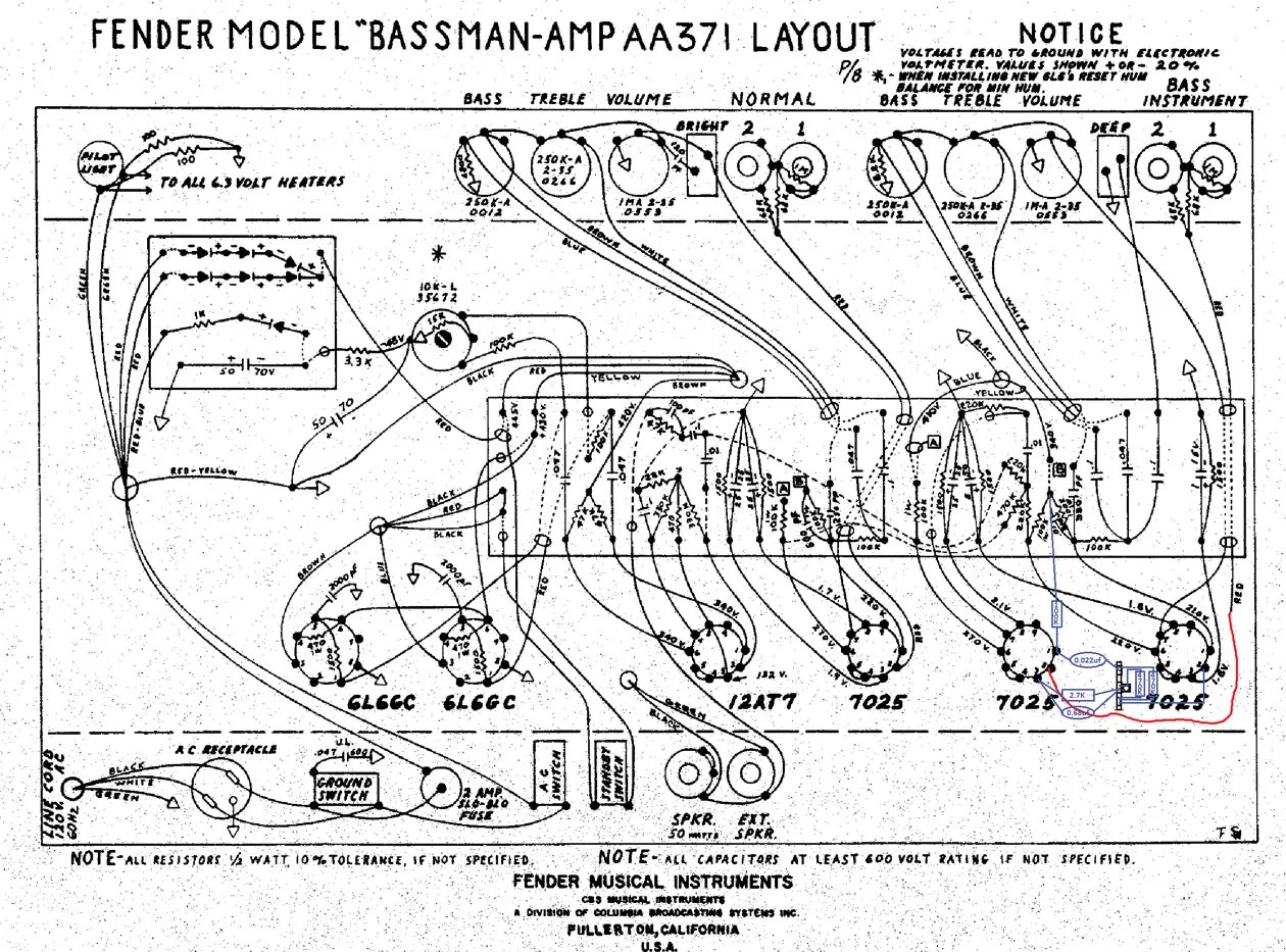 hight resolution of this illustration shows the gain stage mod breaking out the area around tube positions v1 and v2 from a schematic drawing of an aa371 bassman amp