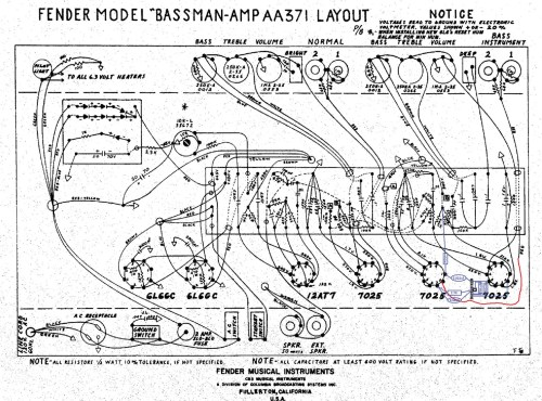 small resolution of this illustration shows the gain stage mod breaking out the area around tube positions v1 and v2 from a schematic drawing of an aa371 bassman amp