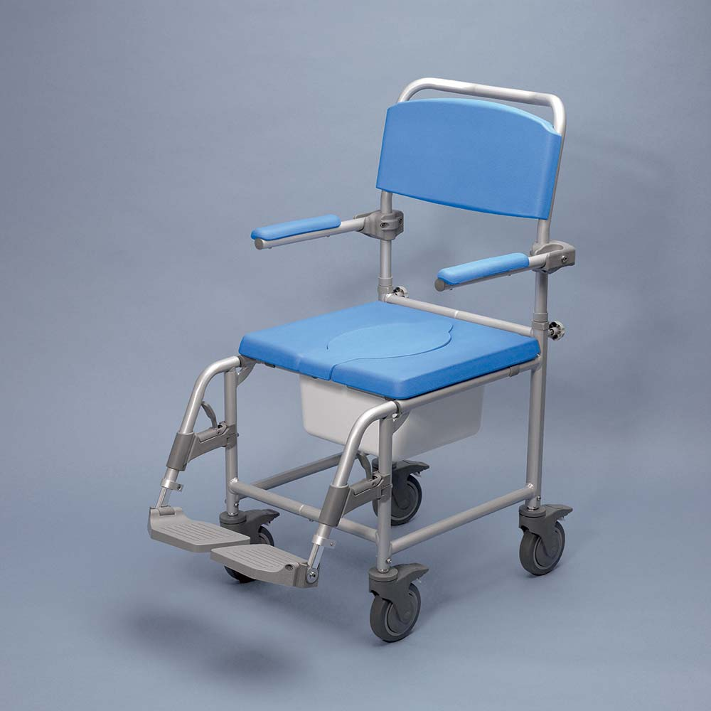 shower chair with back and armrests white table chairs set uk attendant-propelled commode (842)