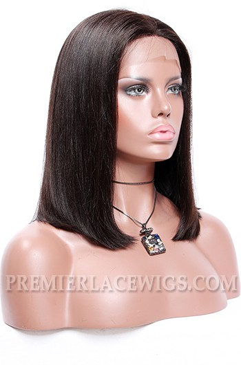 Curly Middle Part Blunt Bob