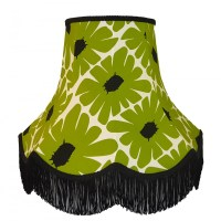 Green Retro Floral Lampshade