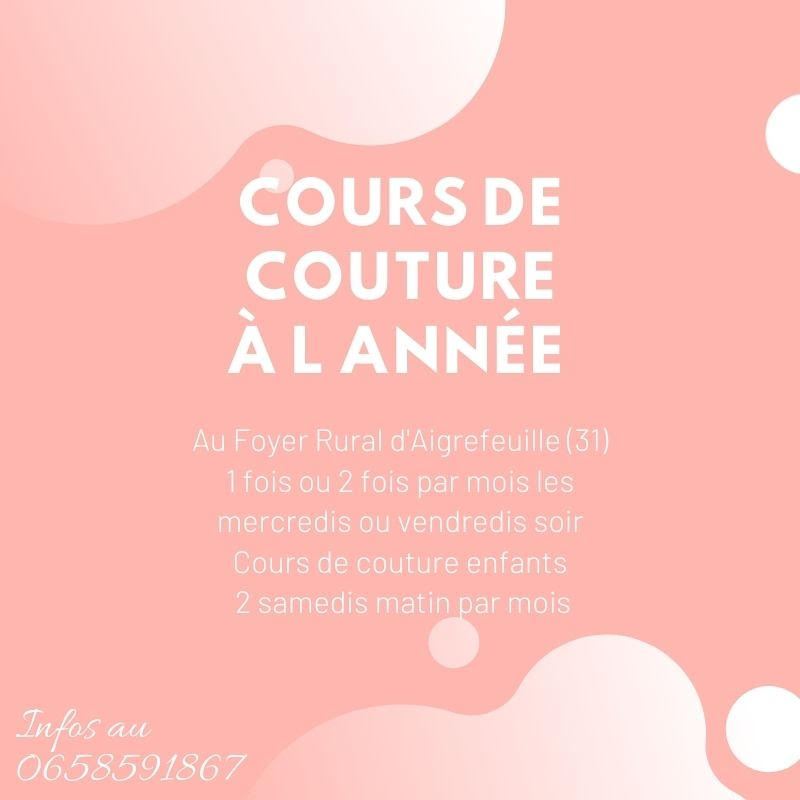 cours couture aigrefeuille 2020-2021