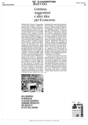 Il Gazzettino di Treviso (03/02/2018): Comisso, suggestioni e altre idee per il concorso