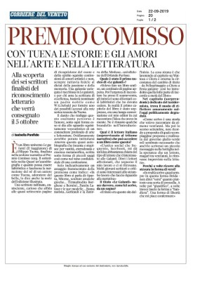 Premio Comisso. Con Tuena le storie e gli amori nell'arte e nella letteratura (Corriere del Veneto, 22/09/2019)