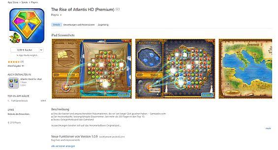 """Hier der Beweis: Playrix berechnet für die Premium-Version von The Rise of Atlantis HD beim Download 6,99 Euro. Links steht dann der In-App-Kauf """"Full Game Unlock"""" für 4,99 Euro. Das ist unverschämt, denn damit rechnet man nicht, wenn man 6,99 Euro für eine Premium-Version ausgibt. Nebenbei: Dann ist es sogar wesentlich günstiger, nämlich nur 5,99 Euro, wenn man die Testversion lädt und da das Upgrade auf die Vollversion durchführt."""