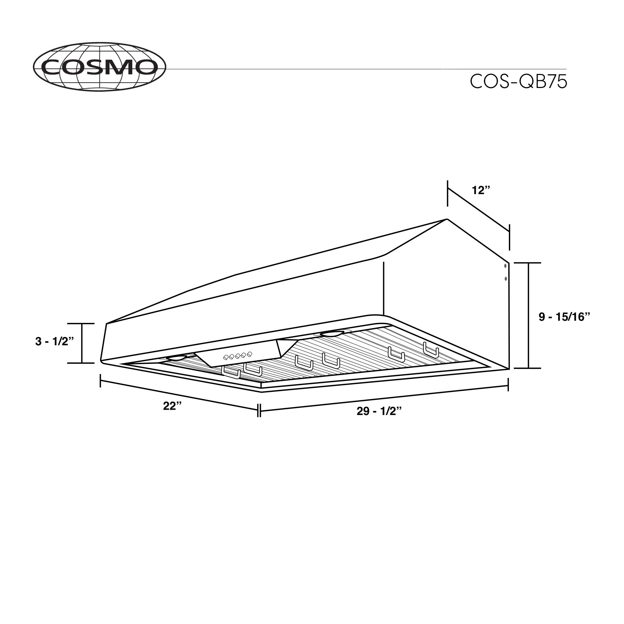 30 In Under Cabinet Range Hood Cosmo Appliances Cos Qb75