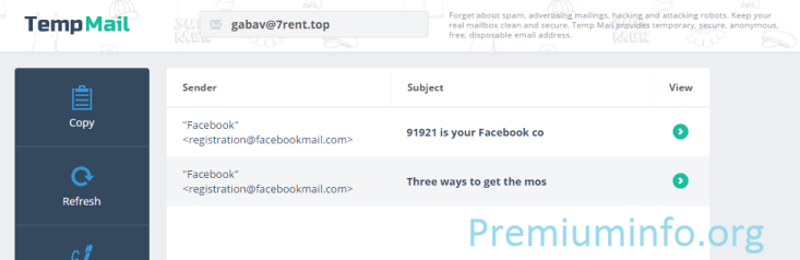 Main part of trick is here . Open https://temp-mail.org/en/ in New Tab Then Fill Any Desired Email Address