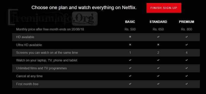 Netflix Plan details
