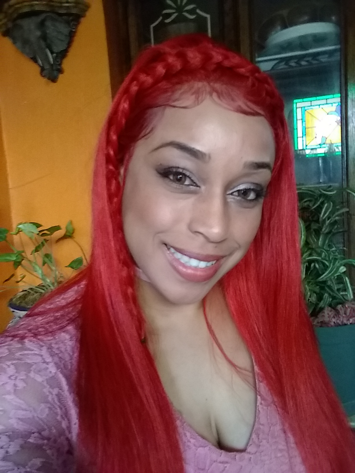 20 inch Red Color Brazilian Straight Human Hair 360 Lace