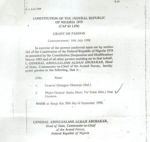 Gazette document for the pardon of Olusegun Obasanjo, Shehu Yar'Adua... Document: Courtesy Daily Trust