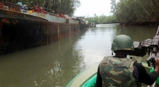 A vessel mv sea express laden with some 2,500 tones of crude impounded by joint task force in the niger delta, operation pulo shield at okuboto creek in bayelsa state. On Sunday