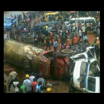 Scene of the accident in Awka... Photo: Via Facebook