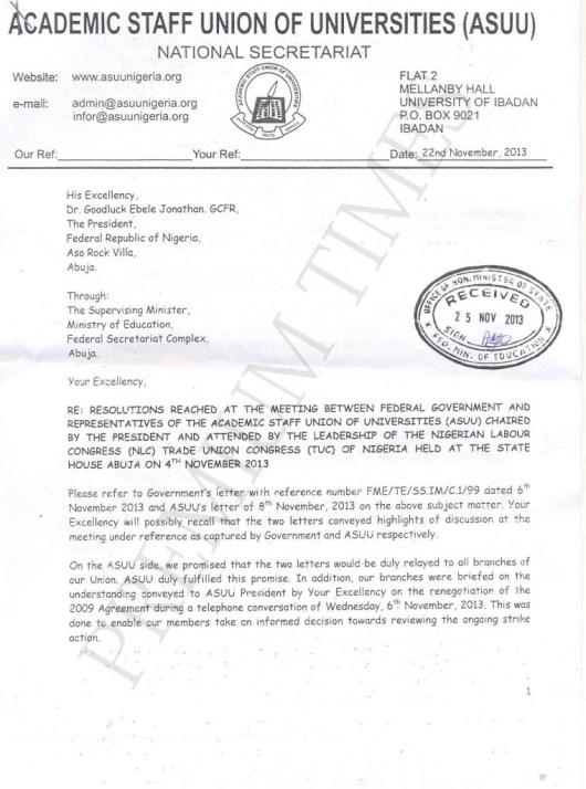 ASUU letter to jonathan