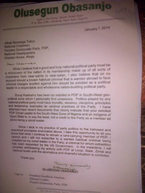 Ex-President Obasanjo's letter to PDP Chairman Bamanga Tukur
