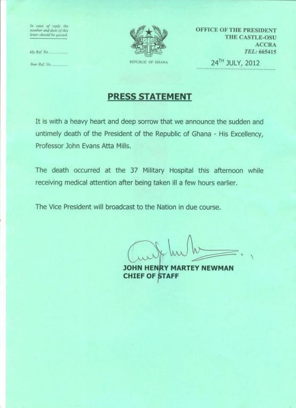 Ghana's President, Atta Mills, dies at 68