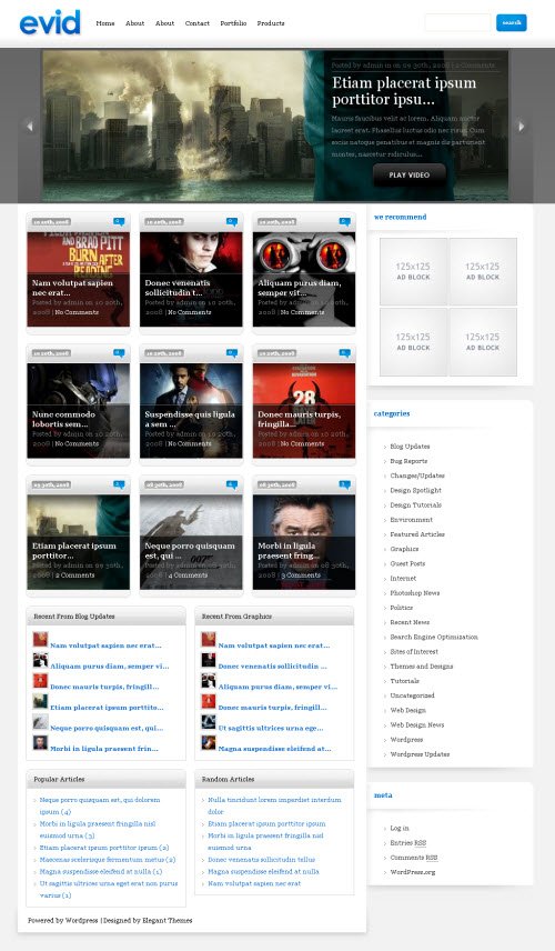 Evid tema wordpress