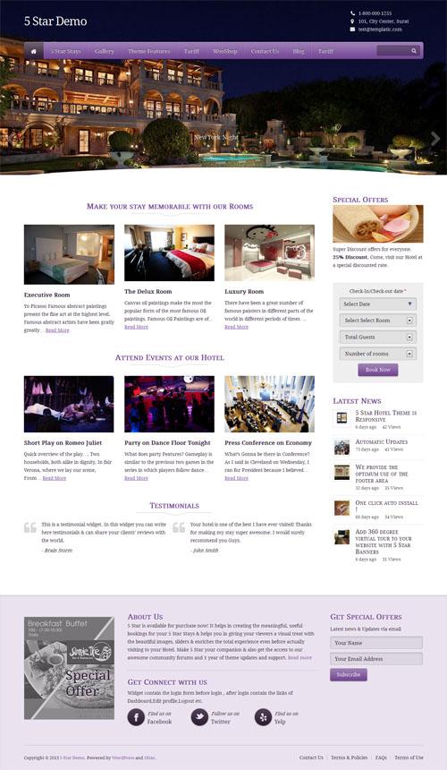 5 Star Hotel WordPress Theme