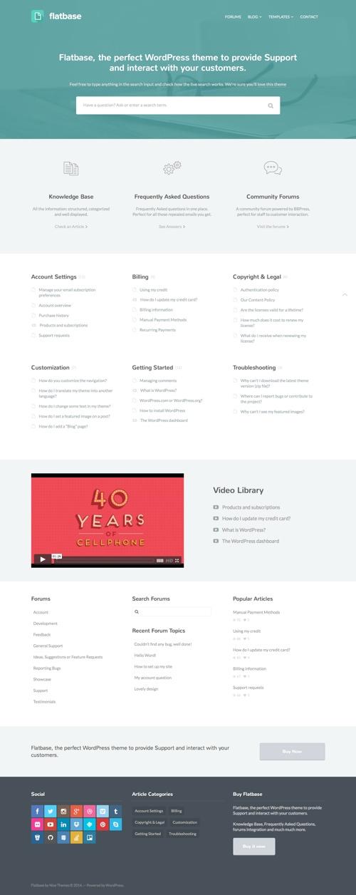 Knowledge Base & FAQ WordPress Theme: Flatbase | Skiptune