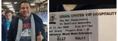 Amarini Villatoro visitó el estadio del Leeds United, en Inglaterra. (Foto Prensa Libre: Instagram @amarinivillatoro)