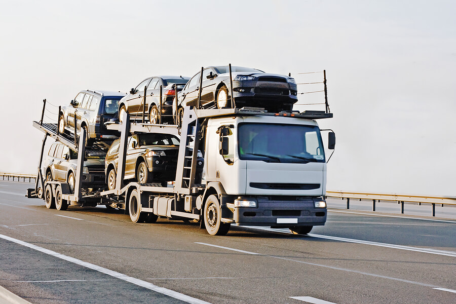 Car Carrier Truck Deliver New Auto Batch To Dealer Of My