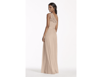 David's Bridal Long One Shoulder Lace Bridesmaid Dress ...
