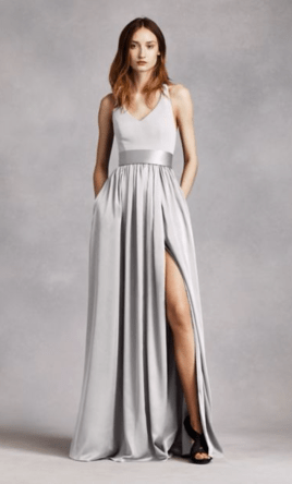 Vera Wang White V Neck Halter Gown with Sash  Style