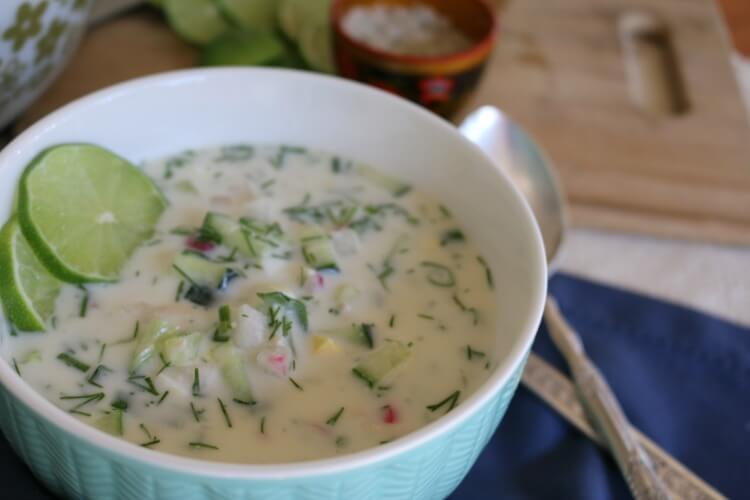 "Cold Summer Soup (""Okroshka"") - Real Food Style made with healthy seasonal ingredients in a yogurt base. Make this easy recipe today!"