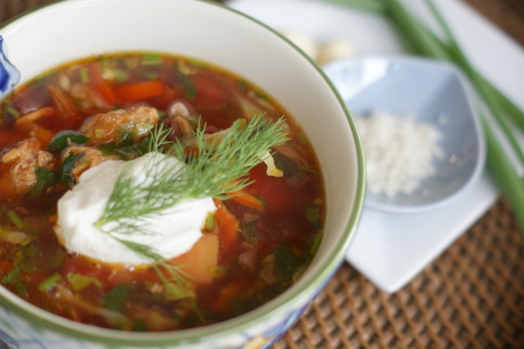 Borsch - A Russian beet soup with a time-saving tip. YOU can have #healthy #dinner ready in under 30 minutes.