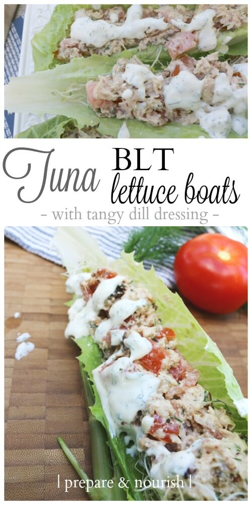 Tuna BLT Lettuce Wraps with tangy dill dressing - delicious and filling meal. Paleo and Whole30. Best part? Your kids can whip this up in no time. Click to find out how!