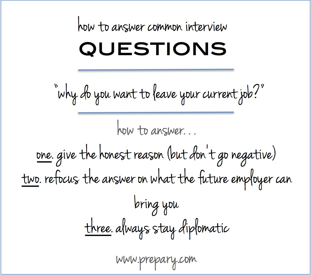 """Interview Question """"why Do You Want To Leave Your Current Job"""