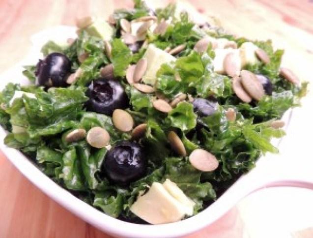 Massaged Kale Salad w/ Blueberries, Pumpkin Seed & Avocado in a Citrus Vinaigrette
