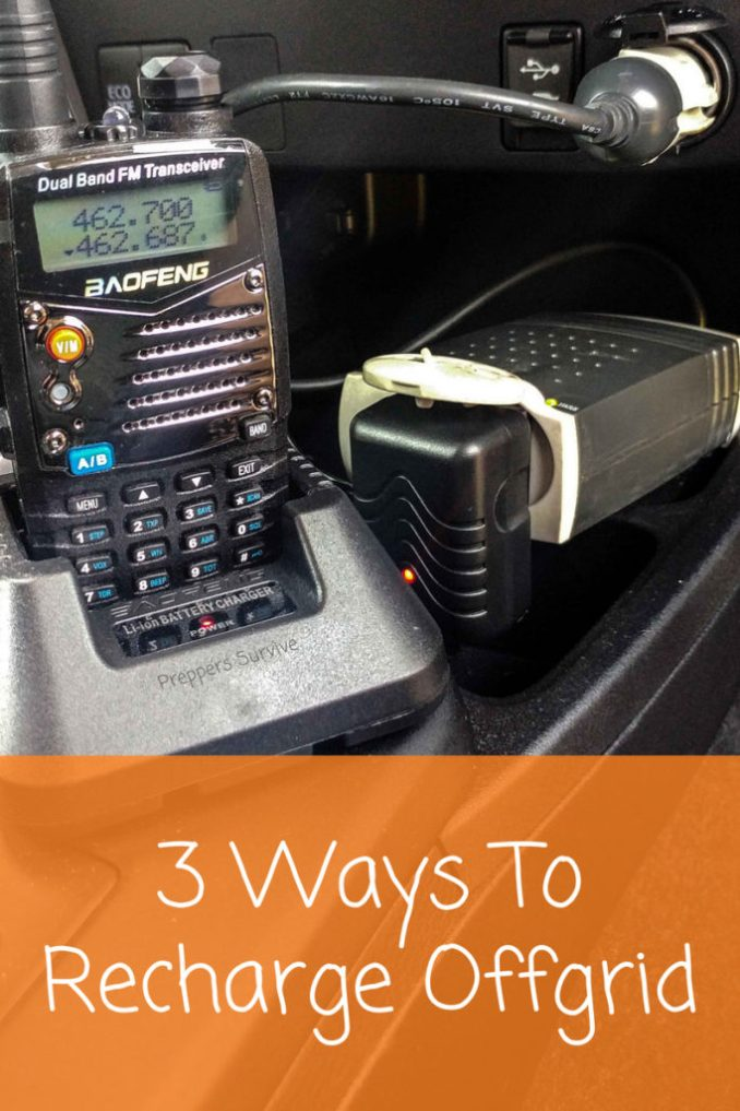 How to Recharge a Ham Radio Offgrid. 3 ways to charge a Ham radio. Preppers Survive