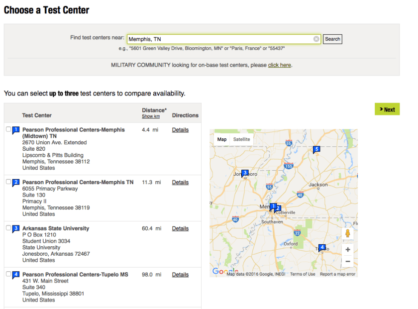 view all local test centers